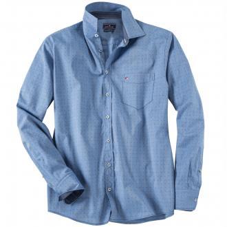 dezent gemustertes Freizeithemd blau_156 | 3XL
