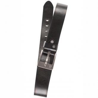 Breiter Ledergürtel mit Logoschnalle schwarz_09 | 110