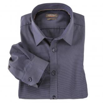 Dezent gemustertes Langarmhemd graublau_240 | 3XL