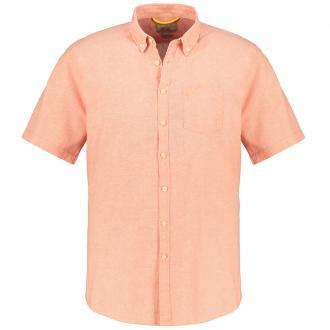 Leinenhemd mit Brusttasche, kurzarm korallrot_42/521 | XXL