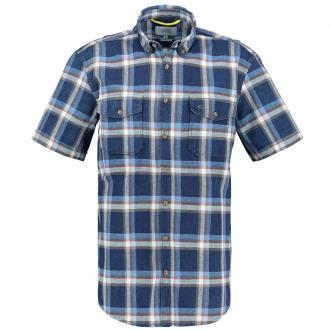 Freizeithemd mit großen Karos, kurzarm dunkelblau_19 | XXL