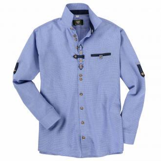Trachtenhemd mit teilbestickter Knopfleiste und Brusttasche, langarm blau_42 | 3XL