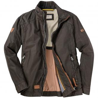Moderne Baumwoll Jacke mit Lederdetails dunkelbraun_20 | 60