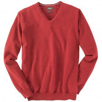 Klassischer Strick-Pullover mit V-Ausschnitt ziegelrot_44 | 64