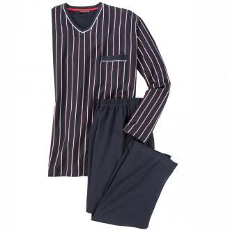 Schlafanzug lang mit V-Ausschnitt blau_7013 | 62