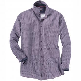 Langarm-Freizeithemd mit Allover-Muster rot_400 | XXL