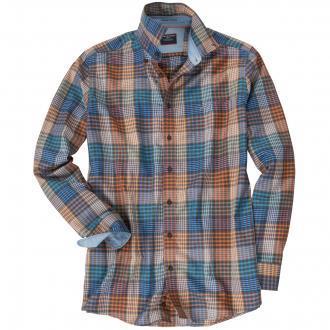 Freizeit-Langarmhemd mit Karomuster orange_4500 | 4XL