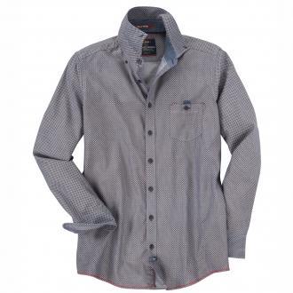 Individuell gemustertes Freizeithemd mit langem Arm blau_100 | 3XL