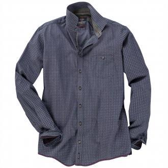 Modisches Langarmhemd mit Muster dunkelgrau_950 | 4XL
