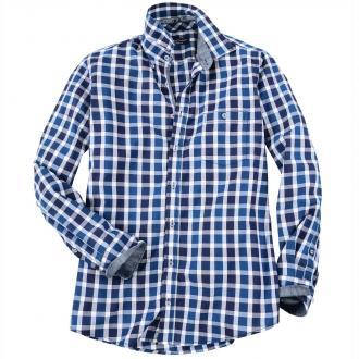 Freizeithemd mit großem Blockkaromuster, langarm petrol_15000 | XXL