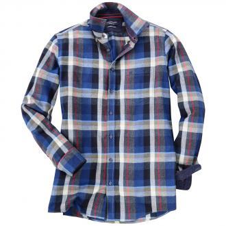 b88445bfb968 Flanell-Langarmhemd in trendbewusster Karo-Optik blau 100   3XL.  Productbild-blau. CASA MODA