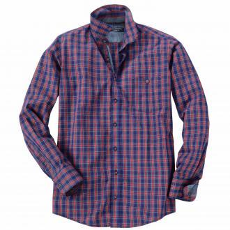 Baumwollhemd mit Schottenkaromuster, langarm blau/rot_400/4050   XXL