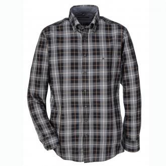 Kariertes Freizeithemd mi Button-Down-Kragen, langarm grau/schwarz_750/3010   XXL