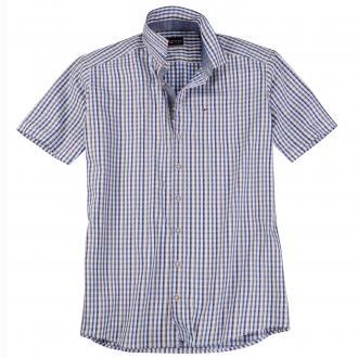 Kariertes Freizeithemd kurzarm blau/weiß_0253 | XXL