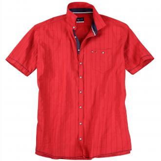 Seersuckerhemd mit kurzem Arm rot_310 | XXL
