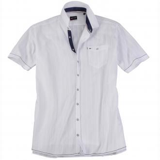 Seersuckerhemd mit kurzem Arm weiß_900 | XXL