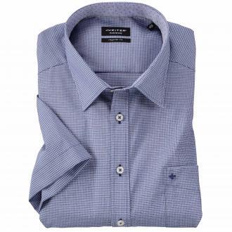 Bügelfreies City-Hemd im Karo-Design, kurzarm blau_156 | 3XL