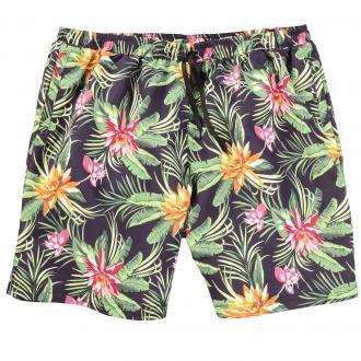 Modische Badeshort mit floralem Print grün_FLOWER | 5XL