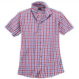33cc99957f47 Modisch, kariertes Kurzarmhemd blau rot 3540   3XL ...