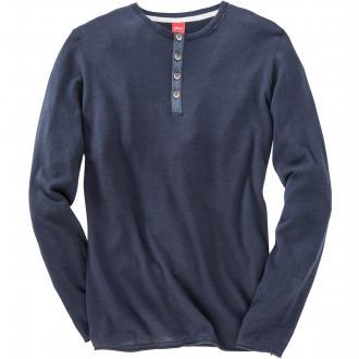 Sommerlicher Pullover mit Knopfleiste dunkelblau_5875 | 3XL