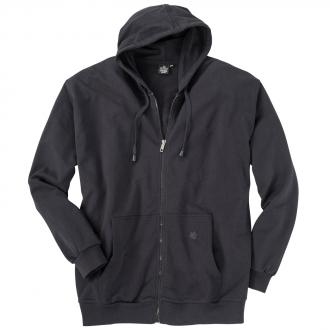 Sweat-Jacke mit Kapuze schwarz_77 | 3XL