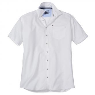 Dezent strukturiertes Freizeithemd mit kurzem Arm weiß_900 | XXL