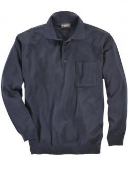 Leichter Strickpullover mit Polokragen dunkelblau_401 | 72