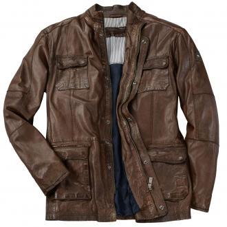 Moderne Lederjacke mit vielen Taschen braun_26 | 64