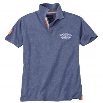 Poloshirt in Melange-Optik, kurzarm jeansblau_5550 | 4XL