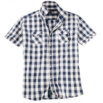 Modernes Freizeithemd im Vintagelook blau/weiß_5800 | 4XL
