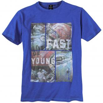 "T-Shirt mit ""Live Fast - Die Young"" Print royalblau_5400 | 5XL"