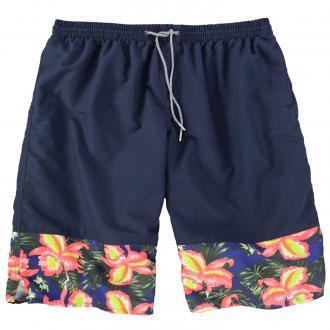 Badeshort mit floralem Beinabschluss dunkelblau_580 | 3XL