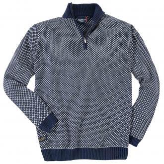 Gemusterter Strick-Pullover mit Troyerkragen blau/weiß_5800 | 3XL