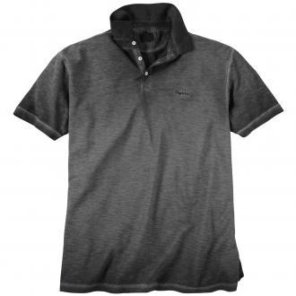 Meliertes Poloshirt in leicht verwaschener Optik, kurzarm schwarz_099   4XL