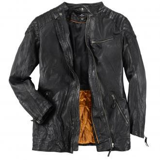 Rockige Leder-Jacke im Biker-Style schwarz_099 | 3XL