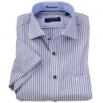 Gestreiftes Cityhemd mit kurzem Arm blau_100 | 6XL