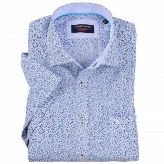 Cityhemd mit floralem Alloverprint, kurzarm blau_100 | XXL
