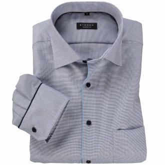 Elegantes Langarmhemd mit dezentem Muster blau/weiß_16 | 46