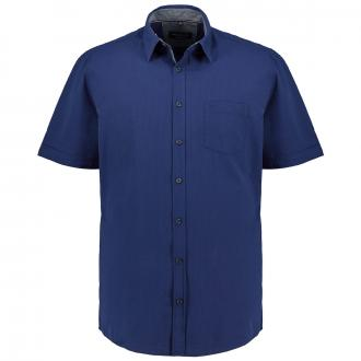 Freizeithemd mit Struktur, kurzarm blau_100 | XXL