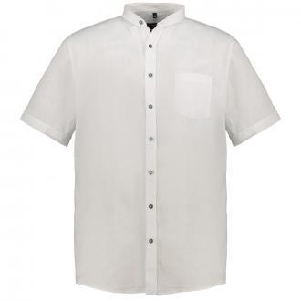 Leichtes Leinen-Freizeithemd mit Stehkragen, kurzarm weiß/weiß_000 | XXL