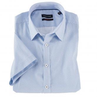 Kurzarm Cityhemd mit dezentem Allover Print blau/weiß_175/4020   3XL