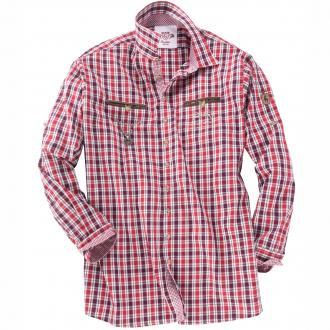 Kariertes Trachtenhemd langarm rot_34 | 8XL