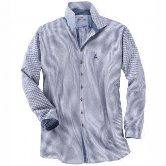 Trachtenhemd langarm blau_42 | 6XL