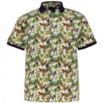 Poloshirt in Piqué-Qualität mit All-Over-Print kurzarm grün_911   3XL