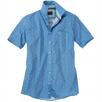 Kurzarm-Freizeithemd gemustert blau_100 | 3XL