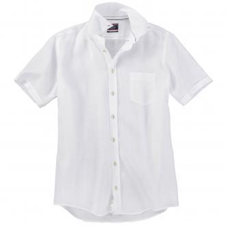 Modisches Leinenhemd mit kurzem Arm weiß/weiß_000 | XXL