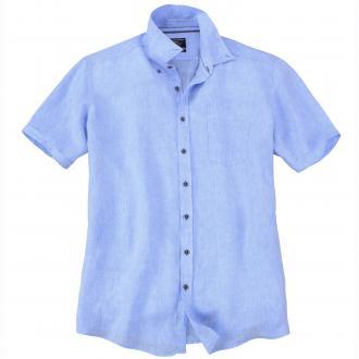 Modisches Leinenhemd mit kurzem Arm blau_100 | XXL