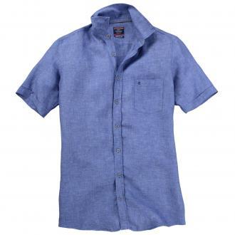 Modisches Leinenhemd mit kurzem Arm jeansblau_101 | XXL