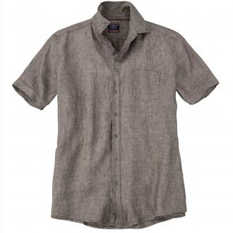 Modisches Leinenhemd mit kurzem Arm braun_200 | XXL
