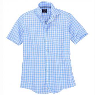 Kariertes Leinenhemd mit kurzem Arm blau_100   3XL